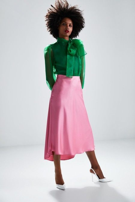 Flowy skirt with asymmetric hem. Pink Skirt Outfits, Pink Midi Skirt, Satin Skirt, Dress Skirt, Green Blouse Outfit, Lace Skirt, Slip Skirts, Midi Skirts, Long Skirts