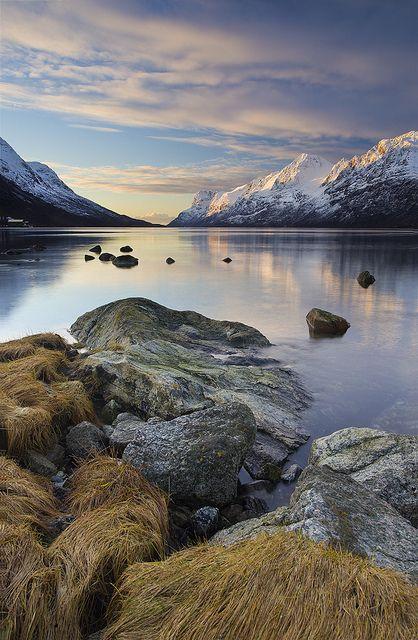Sunset in Ersfjord, Troms, Norway (by antonyspencer). #travel