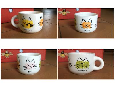 Thumbprint/Fingerprint cats on a mug (sleepy cat, happy cat, sad cat, cheeky cat)