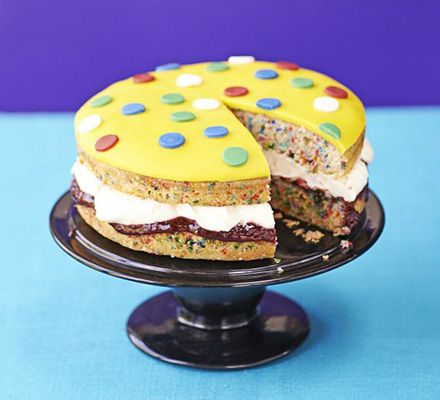 This eye-catching sandwich cake with lemon cream filling and spotted pattern is sure to raise money at a bake sale- or just enjoy it at home