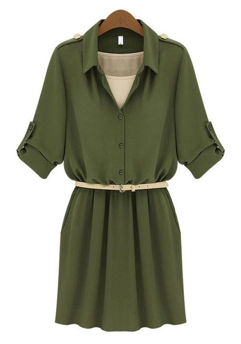 Army Green Belt Lapel Mini Cotton Dress: Vintage and super cute! Would also make a precious pinup army Halloween costume too!