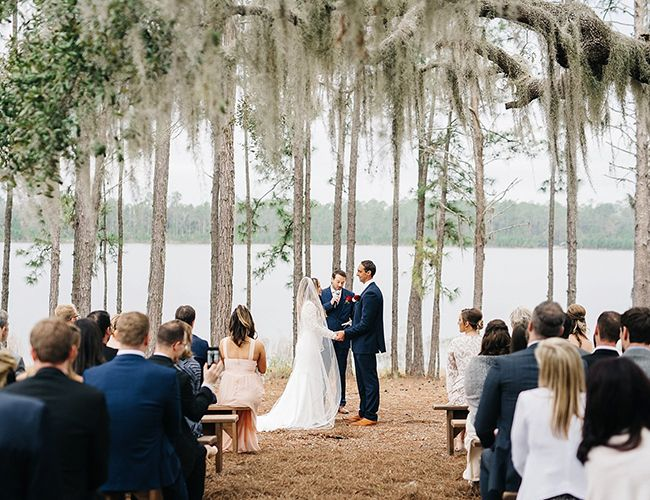 Elegant Lake Wedding Under A Spanish Moss Tree Inspired By This Campground Wedding Forest Wedding Lake Wedding Venues