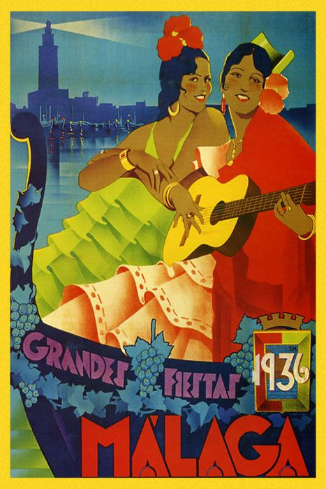images of travel posters | ... Girls Guitar Player 1936 Travel Tourism Vintage Poster Repo FREE SH