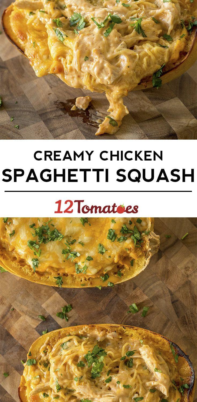 Cheesy Chicken Spaghetti Squash