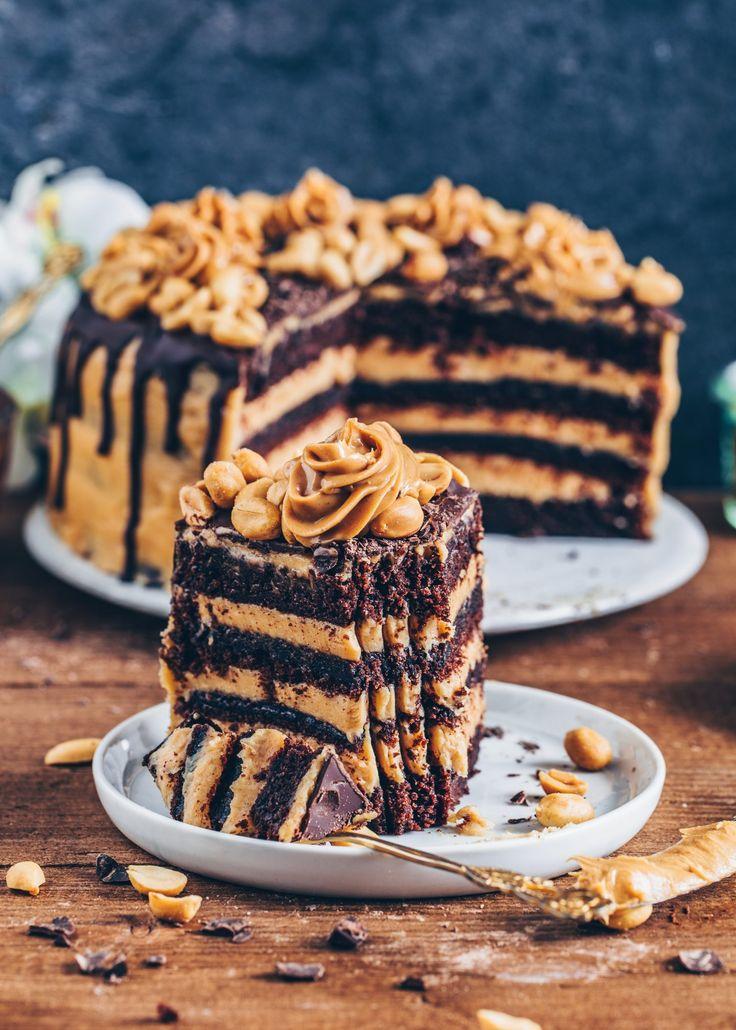 Erdnussbutter Schokoladen-Torte – Vegan