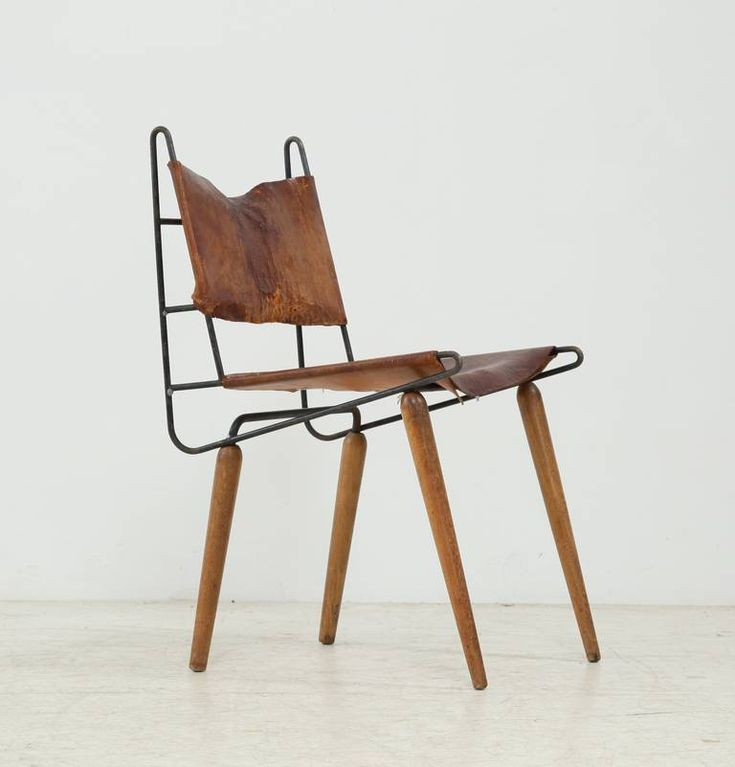 Allan Gould Minimalist Leather and Iron Chair, USA, 1950s 2