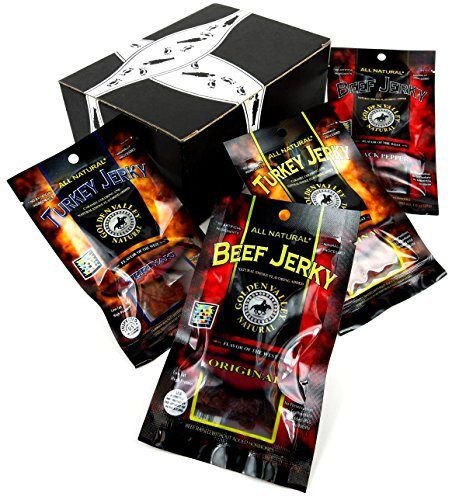 Golden Valley Natural Jerky 4-Flavor Variety: One 1 oz Packet Each of Original Turkey, Teriyaki Turkey, Original Beef, and Black Pepper Beef in a BlackTie Box - http://mygourmetgifts.com/golden-valley-natural-jerky-4-flavor-variety-one-1-oz-packet-each-of-original-turkey-teriyaki-turkey-original-beef-and-black-pepper-beef-in-a-blacktie-box/