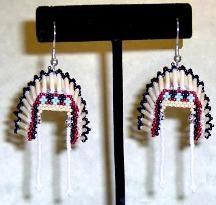Native American Beadwork Brick Stitch Patterns Free | Indian Head Dress Earrings by StarrDesign
