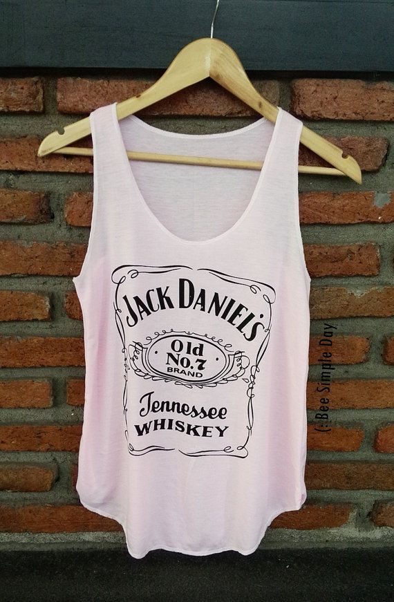 PINK Jack Daniels Tank Top Hipster tank top Tank by BeeSimpleDay