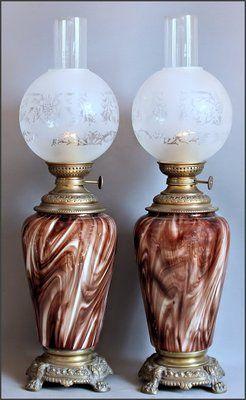 RARE Antique Pair Loetz Karneol Bohemium Art Glass Oil Lamps CA 1880 Top | eBay