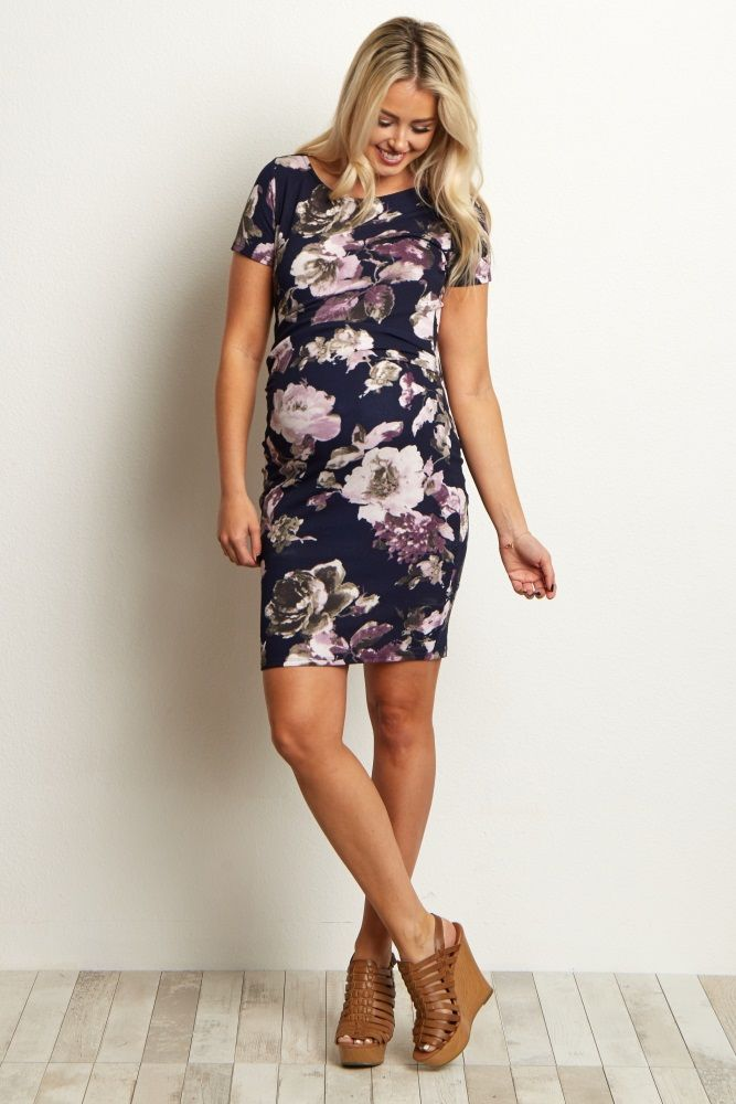 Navy-Blue-Floral-Fitted-Maternity-Dress