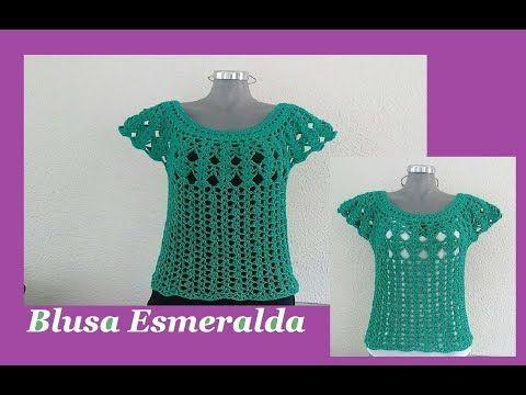 Blusa Esmeralda muy fácil a crochet - YouTube