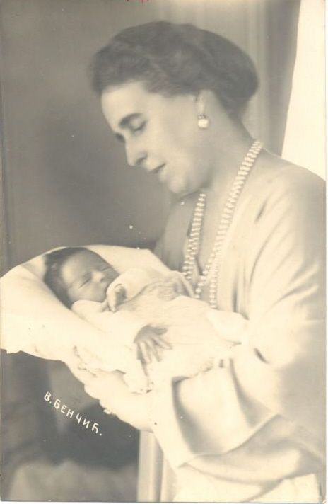 Prince Peter of Yugoslavia (later Peter II of Yugoslavia) and his maternal grandmother, Queen Marie of Romania.