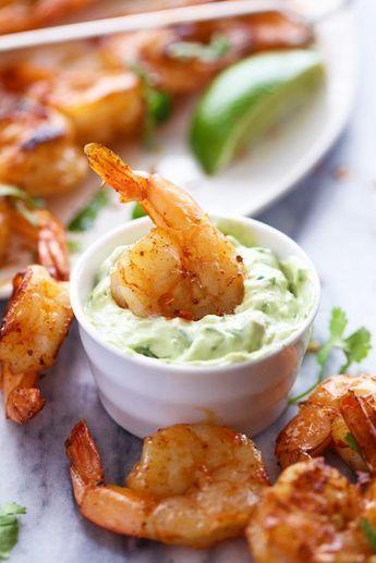 Grilled Spicy Lime Shrimp with Creamy Avocado Cilantro