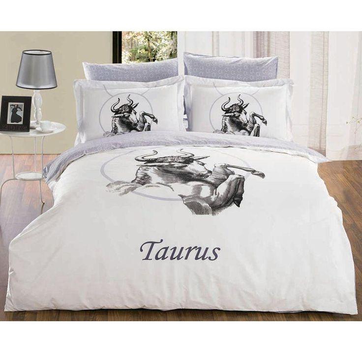 Full/Queen Size Duvet Cover Sheets Set, Taurus Zodiac