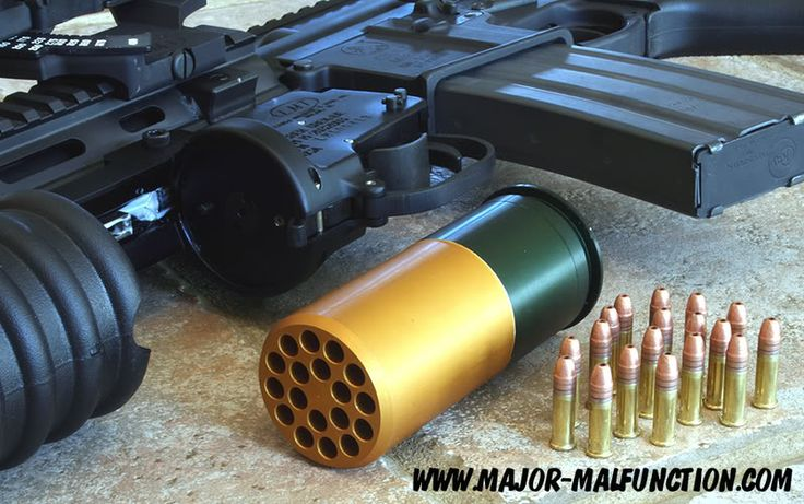 Beehive round – 40mm grenade packed with 18 .22LR rounds.