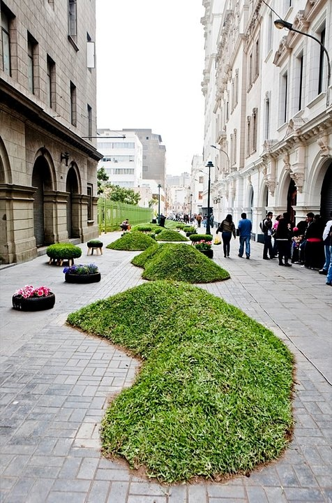 An impromptu park is part of Peru's Gran Semana de Lima (Lima's Great Week) offering urban dwellers a welcome greenspace. The Invasion Verde art installation features recycled tires, plastic sculptures, grassy mounds, seating areas, and flowers.