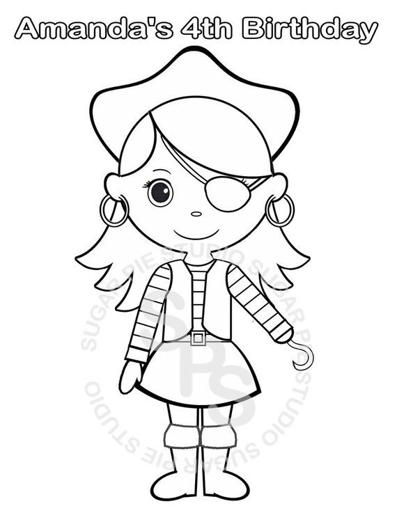 Personalized Printable Pirate Girl Birthday Party Favor Childrens Kids Coloring Page Book Activity Pdf Or Jpeg File Pirate Coloring Pages Birthday Coloring Pages Coloring Pages