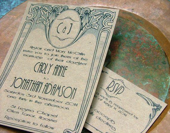 I like the scrolls around the borders. [[ Wedding Invitations Art Deco Nouveau by sweetinvitationco on Etsy, $100.00 ]]