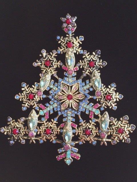 "Heidi Daus REPLICA Snowflake Holiday Christmas tree Pin Brooch Jewelry 3.5"" #1 #OPCCN"