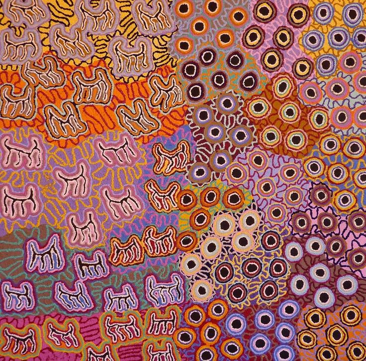 aboriginal art byKelly Napanangka Michaels  Mina Mina Jukurrpa (Mina Mina Dreaming)  Acrylic on Linen, 2010  107 x 107 cm
