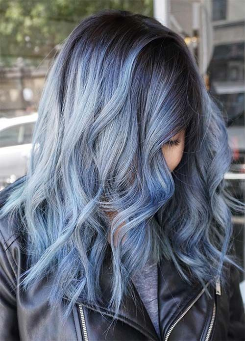 hair colour styles 50 magically blue denim hair colors you will 6732 | d21c2447b605e374895ccc4661831662 denim colored hair denim hair color