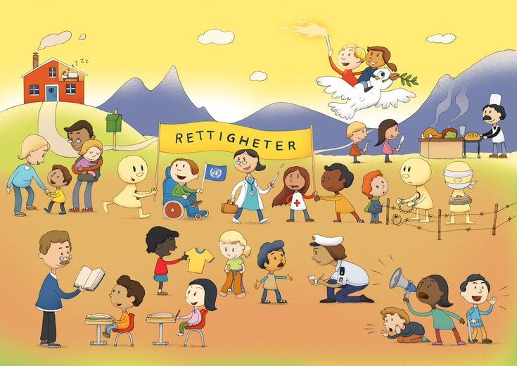 Aktiviteter som illustrerer barn og unges rettigheter.