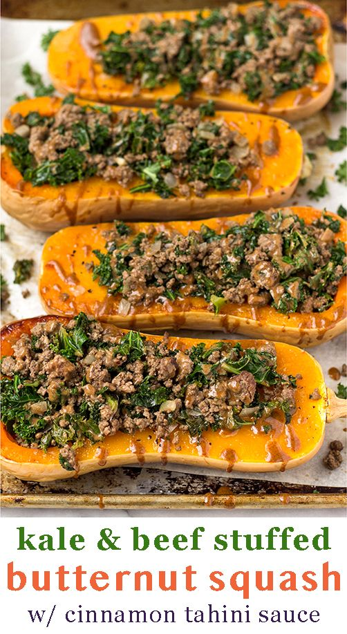 Stuffed Butternut Squash With Beef Kale Recipe Squash Recipes Paleo Ground Beef Recipes Healthy Healthy Ground Beef