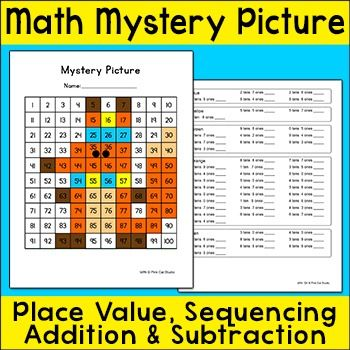 FREE Winter Fox Math Mystery Picture - practice place value, sequencing, addition, and subtraction