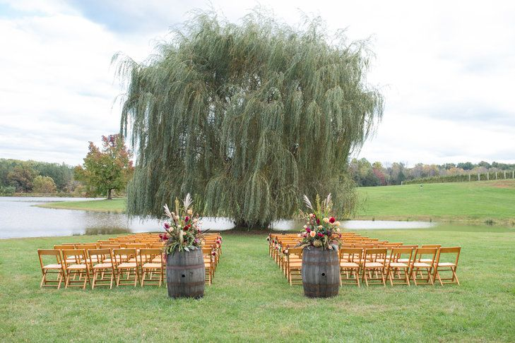 Willow Tree wedding ceremony by the lake at Trump Winery