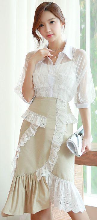 StyleOnme_Scallop Lace Trim Mermaid Hem Skirt #feminine #lace #koreanfashion #kstyle #kfashion #seoul #summertrend #skirt