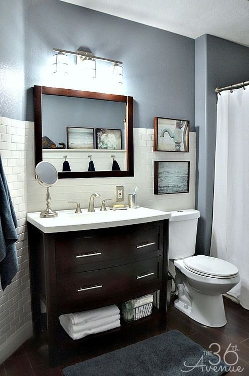 beautiful masculine bathroom blue bathroom decorwhite subway tile