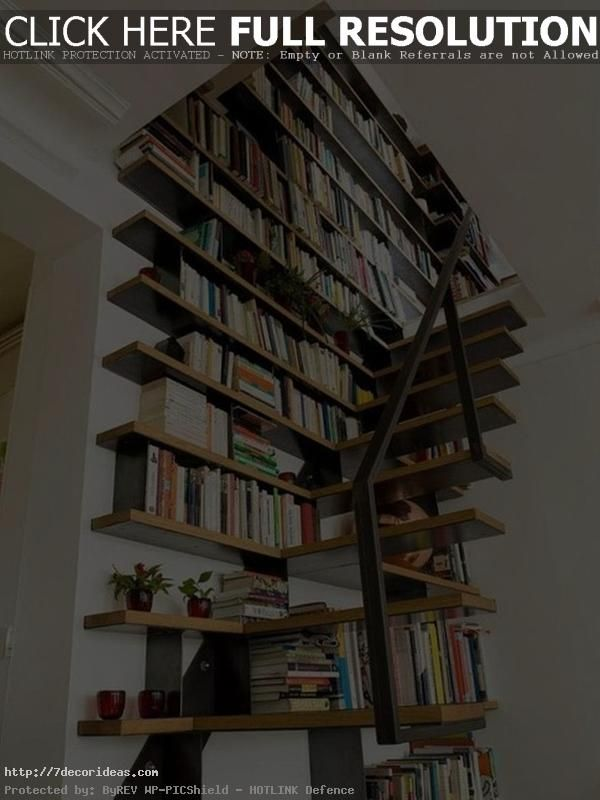 Small Home Stairs Library Design