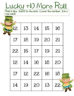 Dit is een leuke manier om optellen tot 10 en optellen met 10 te oefenen. De kinderen krijgen elk een blad met getallen op. Elk om beurt rollen ze met 2 dobbelstenen. Deze cijfers tellen ze bij elkaar op en daarna doen ze er nog eens 10 bij. Dit getal zoeken ze dan op hun blad. De leerling die het eerst 5 op een rij heeft (of meer of minder -- differentiatie) wint. De leerlingen controleren elkaar.
