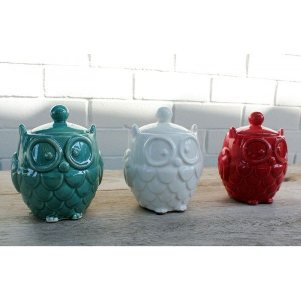 Ceramic Owl Jar Turquoise - Owl Gifts and Homewares