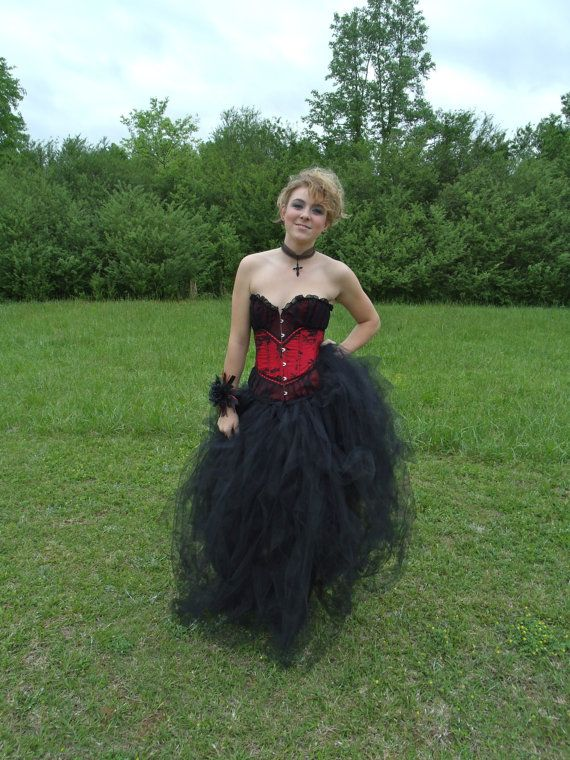 Steampunk Burlesque Gothic Wedding Halloween Costume or Prom Dress (includes Corset) TuTu Tulle Skirt Small/Med Black - Red