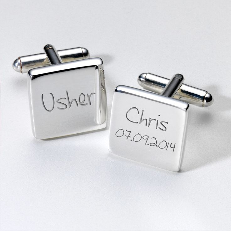 I Just Love It Engraved Cufflinks - Usher Engraved Cufflinks - Usher - Gift Details. Thoughtfully designed for the special day these wedding cufflinks will look good on any Usher?s suit jacket and will also serve as a memento of the big day. http://www.MightGet.com/january-2017-11/i-just-love-it-engraved-cufflinks--usher.asp