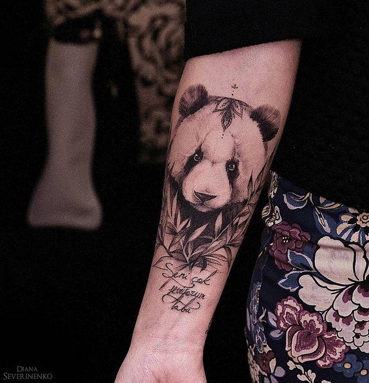 blackwork panda tattoo design for girls