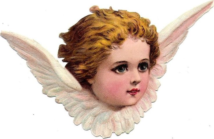 Oblaten Glanzbild scrap die cut chromo Engel angel ange 11,7cm head tete Kopf