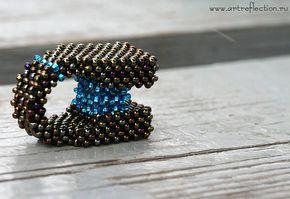Бисерное кольцо Небо и Земля, вариант 4, дизайнер Мачихина Наталья.
