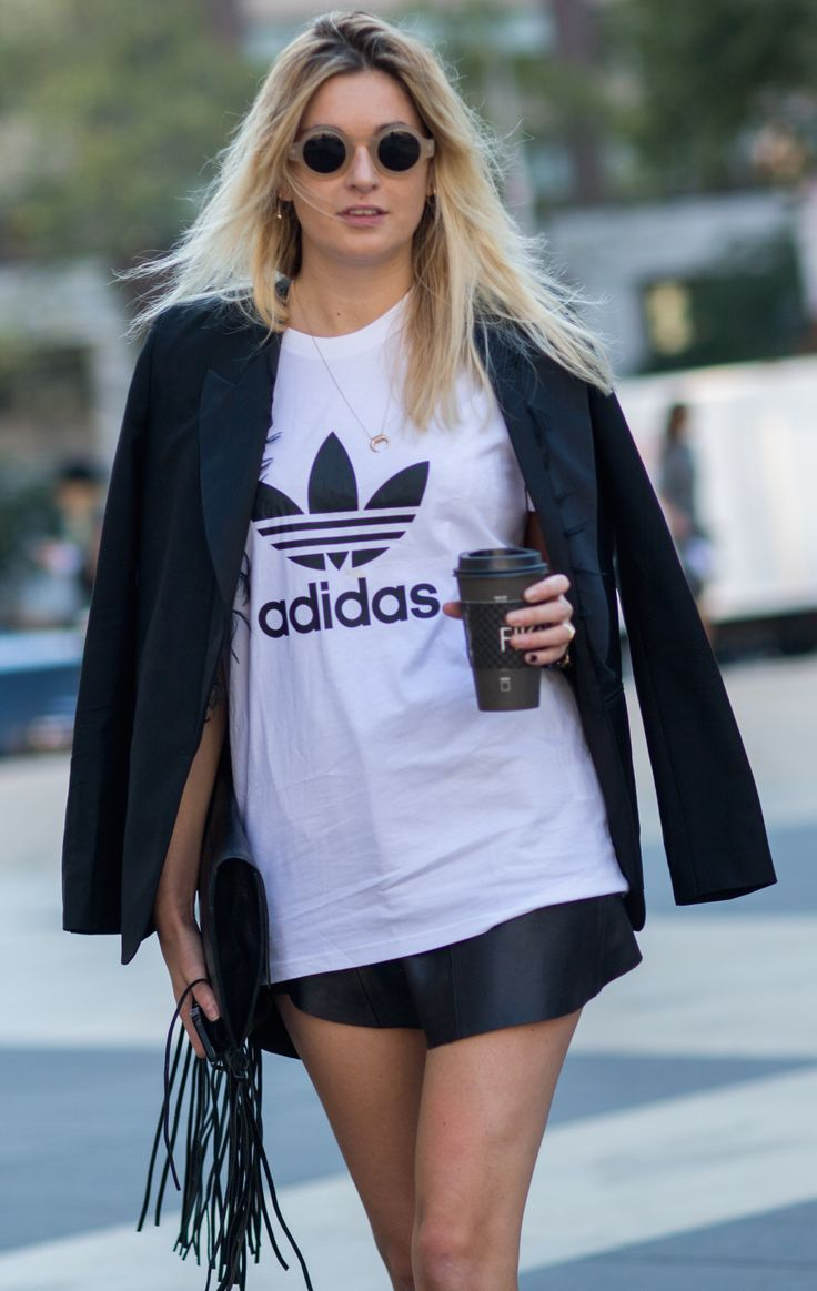 Casual oversized t-shirt with formal blazer jacket and smart shorts in the NYFW Spring 2015 Street Style