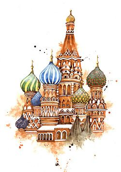Part of a series of travel illustrations featuring  some of the world's most beautiful buildings. This is St. Basil's Cathedral in Moscow, Russia. (gouache, white acrylic and ink)