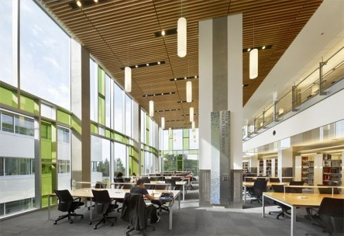 The UBC Law Library occupies the 3rd & 4th floors of Allard Hall, a building with 160 geothermal wells that will reduce the greenhouse gas footprint of the building by 87%. A reflecting pool in a courtyard collects rainwater... while shades and overhangs help to cool the building passively. Building materials include recycled steel, fly-ash concrete that reuses industrial combustion residues, and nontoxic paints and adhesives.    Diamond Schmitt Architects  24,200 sq. ft.   Photo: Tom Arban