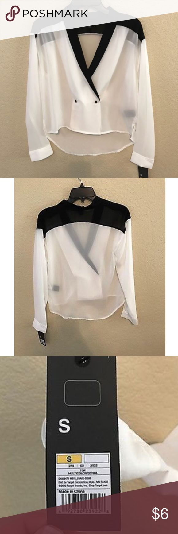 NWT Mossimo tuxedo sheer top black and white NWT Mossimo tuxedo sheer top black and white size Small. Size small. unique look! Mossimo Supply Co Tops Blouses