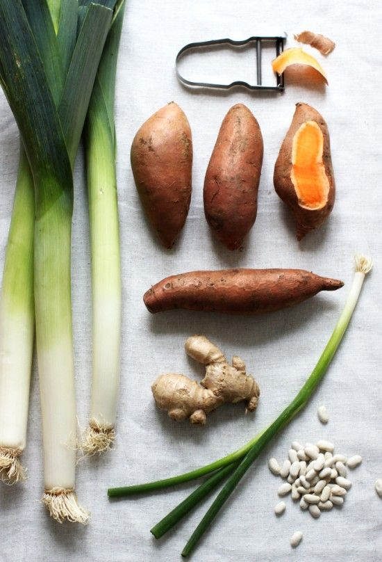 Healthy potato-leek soup with sweet potatoes and beans instead of dairy! Yummy!!! This recipe is incredible! Just made it tonight without the lemon.