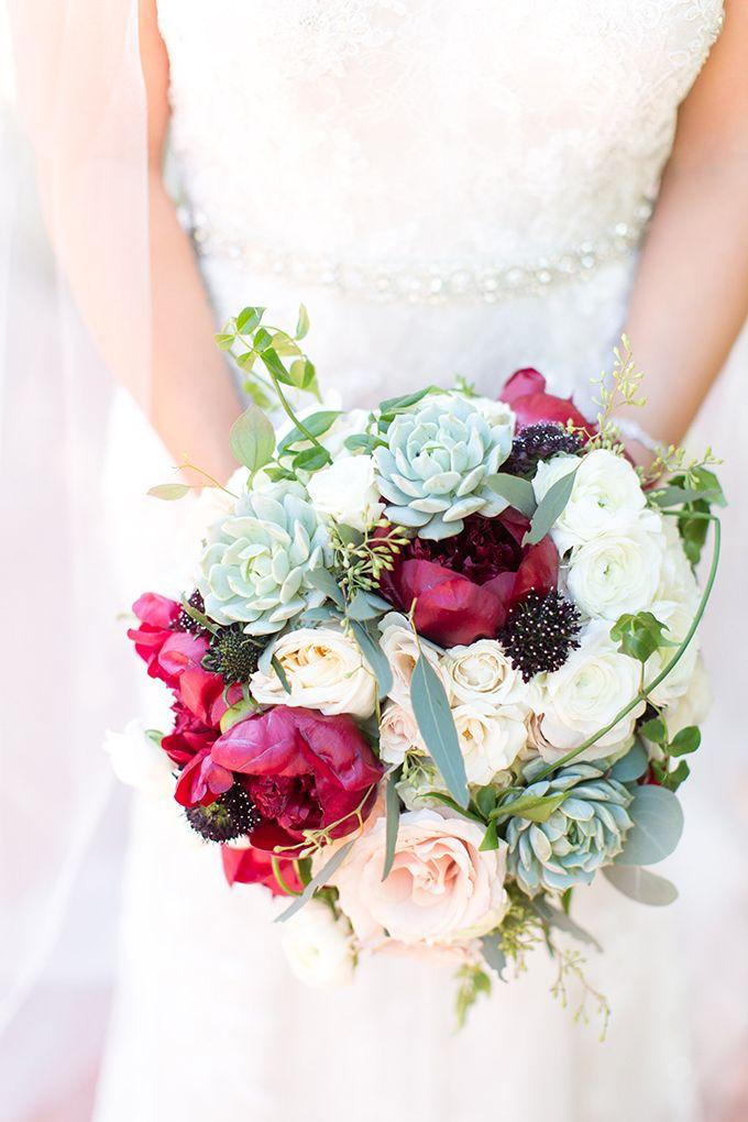elegant burgundy desert wedding bouquet
