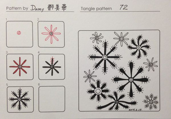 72. Tangle Pattern and Example  with Variations by Damy, CZT.