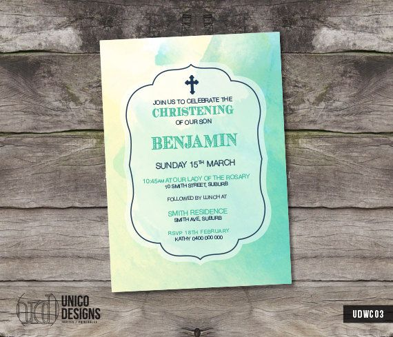 Watercolour Invitation Printable / by UnicoDesignsInvites on Etsy