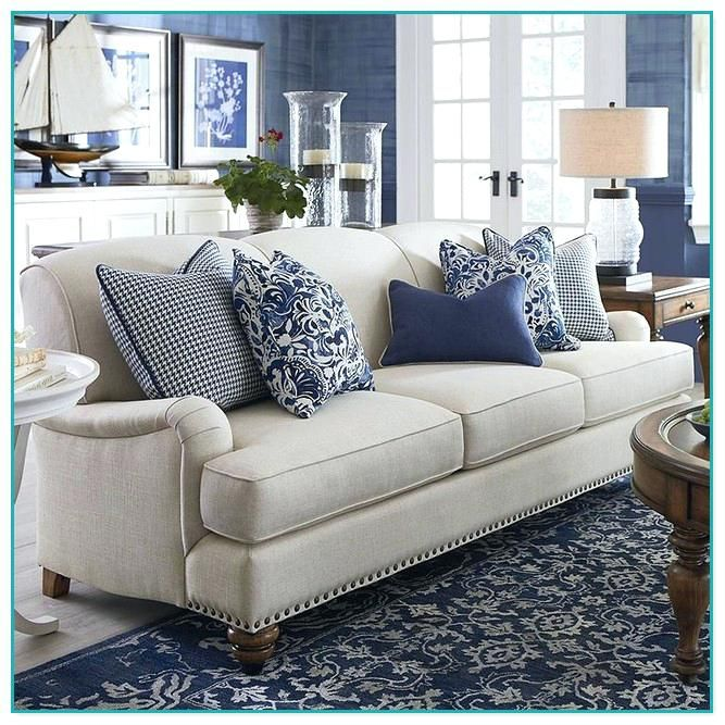 gray sofa with blue pillows - Google Search | Living room ...