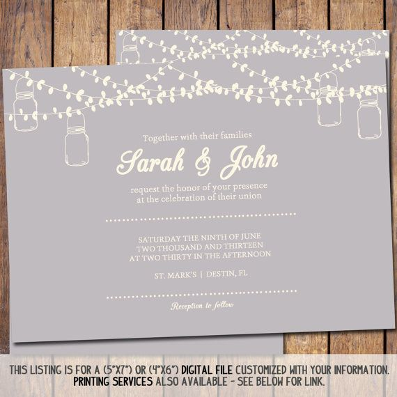 mason jar wedding invitation 5x7 save the date template diy printable digital string lights. Black Bedroom Furniture Sets. Home Design Ideas